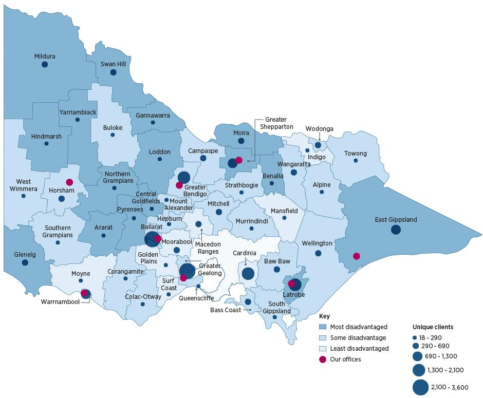 Map showing the number of clients we helped in regional and rural Victoria – see table for data